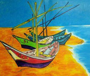 Vincent van Gogh Łodzie rybackie na plaży w Saintes Marines